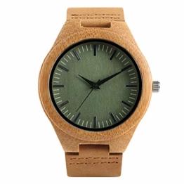 Elegante Bambus Herren Armbanduhr, Lederarmband Bambus Uhr für Damen Herren - 1