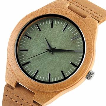 Elegante Bambus Herren Armbanduhr, Lederarmband Bambus Uhr für Damen Herren - 2