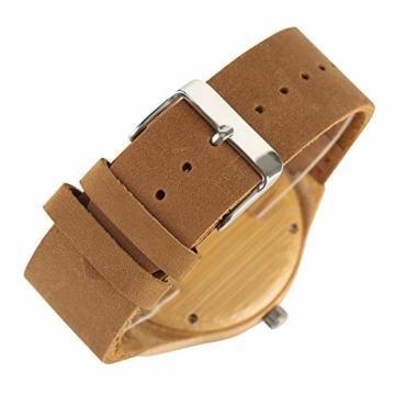 Elegante Bambus Herren Armbanduhr, Lederarmband Bambus Uhr für Damen Herren - 3