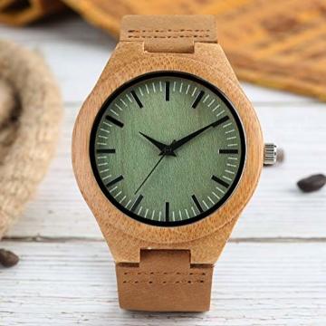 Elegante Bambus Herren Armbanduhr, Lederarmband Bambus Uhr für Damen Herren - 4