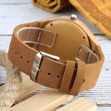 Elegante Bambus Herren Armbanduhr, Lederarmband Bambus Uhr für Damen Herren - 5