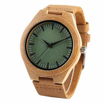 Elegante Bambus Herren Armbanduhr, Lederarmband Bambus Uhr für Damen Herren - 6