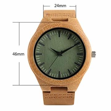 Elegante Bambus Herren Armbanduhr, Lederarmband Bambus Uhr für Damen Herren - 7