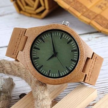 Elegante Bambus Herren Armbanduhr, Lederarmband Bambus Uhr für Damen Herren - 8