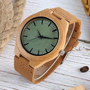 Elegante Bambus Herren Armbanduhr, Lederarmband Bambus Uhr für Damen Herren - 9