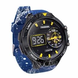 Herren Sport Taucheruhr 100 m wasserdicht mit großem Zifferblatt Digital und Analog-Uhrwerk, verstellbares Band, elektrolumineszierende Hintergrundbeleuchtung - 1
