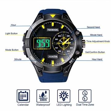 Herren Sport Taucheruhr 100 m wasserdicht mit großem Zifferblatt Digital und Analog-Uhrwerk, verstellbares Band, elektrolumineszierende Hintergrundbeleuchtung - 4