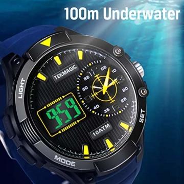 Herren Sport Taucheruhr 100 m wasserdicht mit großem Zifferblatt Digital und Analog-Uhrwerk, verstellbares Band, elektrolumineszierende Hintergrundbeleuchtung - 6