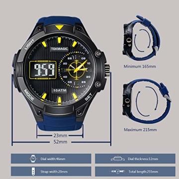Herren Sport Taucheruhr 100 m wasserdicht mit großem Zifferblatt Digital und Analog-Uhrwerk, verstellbares Band, elektrolumineszierende Hintergrundbeleuchtung - 7