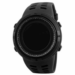 Herren-Uhr Outdoor-Sport-Uhr-digital-elektronischer Countdown Easy Read Uhr Mit Lederarmband Wasserdicht Stoppuhr Schwarz - 1