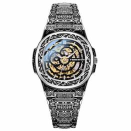 Herrenuhren, Persönlichkeit geschnitztes Armband - wasserdichte Steampunk Automatik Mechanisch Leuchtend Herren Armbanduhr für Herren Business Herren Multifunktional (Gold) - 1