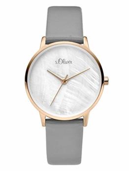 s.Oliver Damen Analog Quarz Uhr mit Leder Armband SO-3742-LQ, grau - 1