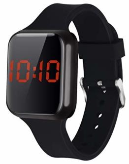 WUTAN Herren Uhren Digitaluhr Led Touch Auto Date Einfache Digital Uhr Armbanduhren für Herren Damen Jungen Mädchen Unisex mit Silikonband Schwarz - 1