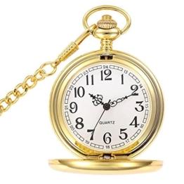 BestFire Vintage Glatte Quarz-Taschenuhr mit kurzer Kette für Männer Frauen -Geschenk zum Geburtstags-Jahrestag Weihnachts-Vater-Tag (Gold) - 1