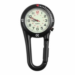 Hemobllo Quarzuhr mit Clip aus Legierung Nachtlicht Rucksack Unisex Gürtel Schnalle Uhr schwarz mit weißem Zifferblatt Ideal für medizinische Kranken-Messungen (schwarz) - 1