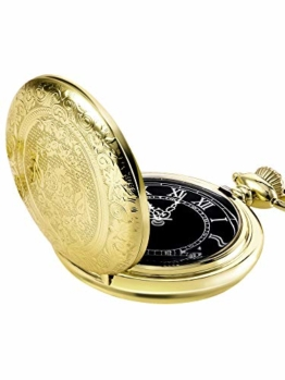 Hicarer Herren Analog Quarz Taschenuhr (Gold) - 1
