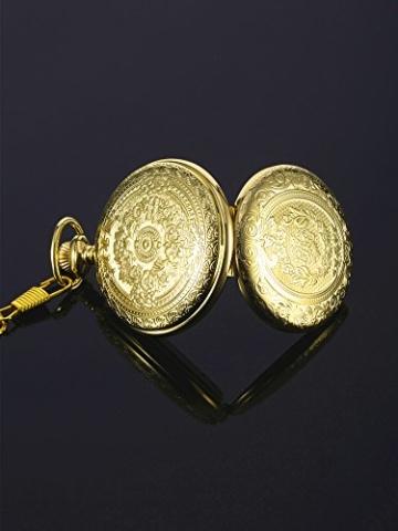 Hicarer Herren Analog Quarz Taschenuhr (Gold) - 5