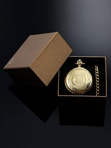 Hicarer Herren Analog Quarz Taschenuhr (Gold) - 7