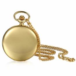 JewelryWe Herren Damen Taschenuhr Classic Glänzend Kettenuhr Analog Quarz Uhr mit Halskette Kette Umhängeuhr Pocket Watch Geschenk Gold - 1