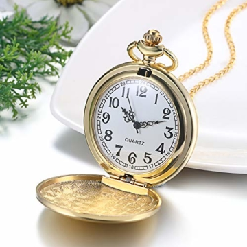 JewelryWe Herren Damen Taschenuhr Classic Glänzend Kettenuhr Analog Quarz Uhr mit Halskette Kette Umhängeuhr Pocket Watch Geschenk Gold - 4