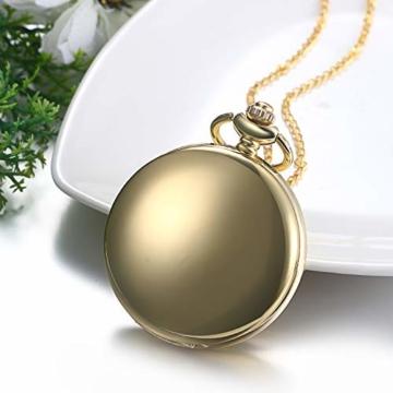 JewelryWe Herren Damen Taschenuhr Classic Glänzend Kettenuhr Analog Quarz Uhr mit Halskette Kette Umhängeuhr Pocket Watch Geschenk Gold - 5