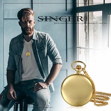 JewelryWe Herren Damen Taschenuhr Classic Glänzend Kettenuhr Analog Quarz Uhr mit Halskette Kette Umhängeuhr Pocket Watch Geschenk Gold - 6