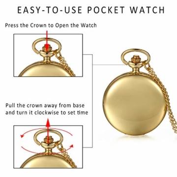 JewelryWe Herren Damen Taschenuhr Classic Glänzend Kettenuhr Analog Quarz Uhr mit Halskette Kette Umhängeuhr Pocket Watch Geschenk Gold - 7