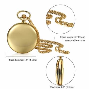 JewelryWe Herren Damen Taschenuhr Classic Glänzend Kettenuhr Analog Quarz Uhr mit Halskette Kette Umhängeuhr Pocket Watch Geschenk Gold - 8