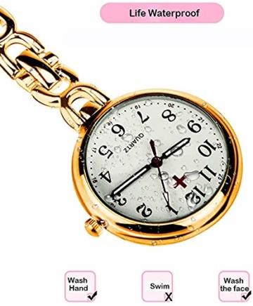 L&H Gadgets Krankenschwesteruhr mit Clips [Wasserdicht/Mehrfarbige/Quarzuhr/Präzise] Pulsuhr für Krankenschwester Geschenke/Schwesternuhr Eingebauter Akku (Golden) - 2