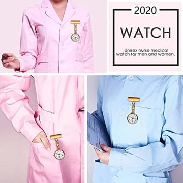 L&H Gadgets Krankenschwesteruhr mit Clips [Wasserdicht/Mehrfarbige/Quarzuhr/Präzise] Pulsuhr für Krankenschwester Geschenke/Schwesternuhr Eingebauter Akku (Golden) - 3