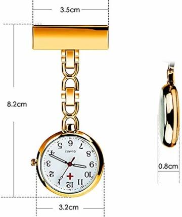 L&H Gadgets Krankenschwesteruhr mit Clips [Wasserdicht/Mehrfarbige/Quarzuhr/Präzise] Pulsuhr für Krankenschwester Geschenke/Schwesternuhr Eingebauter Akku (Golden) - 4