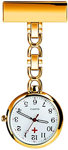 L&H Gadgets Krankenschwesteruhr mit Clips [Wasserdicht/Mehrfarbige/Quarzuhr/Präzise] Pulsuhr für Krankenschwester Geschenke/Schwesternuhr Eingebauter Akku (Golden) - 1