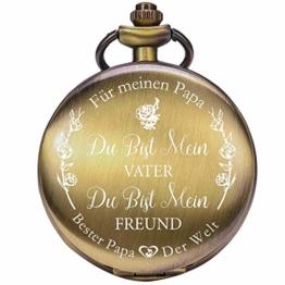 ManChDa Gravierte Taschenuhr für Papa Geschenk, Vintage Taschenuhren mit Kette für Männer, Geburtstagsgeschenk, Schöne Geschenke für die Familie (2.1.Bronze) - 1