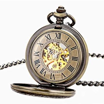 ManChDa Taschenuhr für Herren, spezielle Lupe, mechanisch, Handaufzug, Halbjäger, römische Ziffern, Antike Bronze Taschenuhr mit Kette - 2