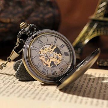 ManChDa Taschenuhr für Herren, spezielle Lupe, mechanisch, Handaufzug, Halbjäger, römische Ziffern, Antike Bronze Taschenuhr mit Kette - 3