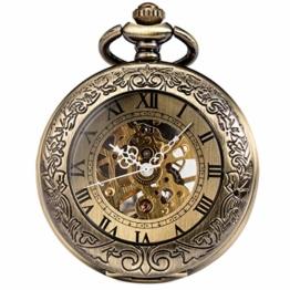 ManChDa Taschenuhr für Herren, spezielle Lupe, mechanisch, Handaufzug, Halbjäger, römische Ziffern, Antike Bronze Taschenuhr mit Kette - 1