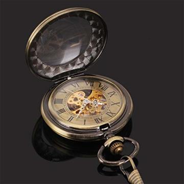 ManChDa Taschenuhr für Herren, spezielle Lupe, mechanisch, Handaufzug, Halbjäger, römische Ziffern, Antike Bronze Taschenuhr mit Kette - 4