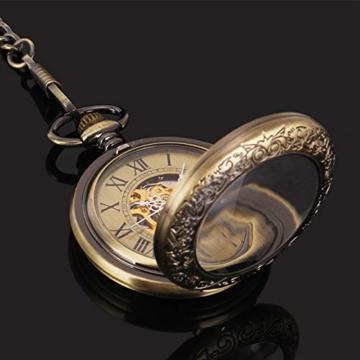 ManChDa Taschenuhr für Herren, spezielle Lupe, mechanisch, Handaufzug, Halbjäger, römische Ziffern, Antike Bronze Taschenuhr mit Kette - 5