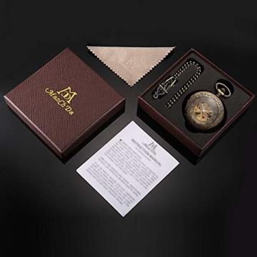 ManChDa Taschenuhr für Herren, spezielle Lupe, mechanisch, Handaufzug, Halbjäger, römische Ziffern, Antike Bronze Taschenuhr mit Kette - 6