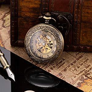 ManChDa Taschenuhr für Herren, spezielle Lupe, mechanisch, Handaufzug, Halbjäger, römische Ziffern, Antike Bronze Taschenuhr mit Kette - 7