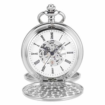 ManChDa Unisex Taschenuhr mit Kette Analog Handaufzug Retro Doppelabdeckungen Skelett Silber Uhrwerk - 2