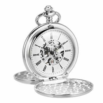 ManChDa Unisex Taschenuhr mit Kette Analog Handaufzug Retro Doppelabdeckungen Skelett Silber Uhrwerk - 3