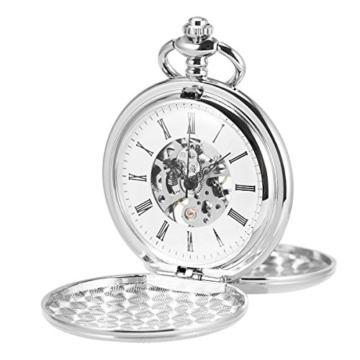 ManChDa Unisex Taschenuhr mit Kette Analog Handaufzug Retro Doppelabdeckungen Skelett Silber Uhrwerk - 1