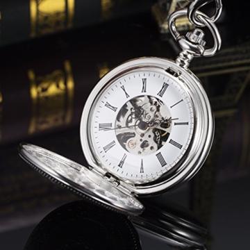 ManChDa Unisex Taschenuhr mit Kette Analog Handaufzug Retro Doppelabdeckungen Skelett Silber Uhrwerk - 5