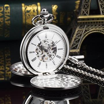 ManChDa Unisex Taschenuhr mit Kette Analog Handaufzug Retro Doppelabdeckungen Skelett Silber Uhrwerk - 6