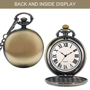 SRXWO Herren Taschenuhr Uhr Analog Quarz Taschen Uhren mit Edelstahl Kette Armband für Vati/Großvater Retro - 3