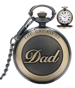 SRXWO Herren Taschenuhr Uhr Analog Quarz Taschen Uhren mit Edelstahl Kette Armband für Vati/Großvater Retro - 1