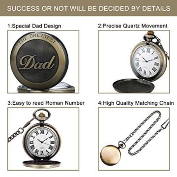 SRXWO Herren Taschenuhr Uhr Analog Quarz Taschen Uhren mit Edelstahl Kette Armband für Vati/Großvater Retro - 4