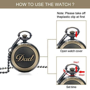 SRXWO Herren Taschenuhr Uhr Analog Quarz Taschen Uhren mit Edelstahl Kette Armband für Vati/Großvater Retro - 5