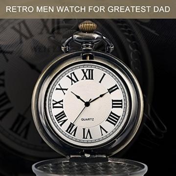 SRXWO Herren Taschenuhr Uhr Analog Quarz Taschen Uhren mit Edelstahl Kette Armband für Vati/Großvater Retro - 6